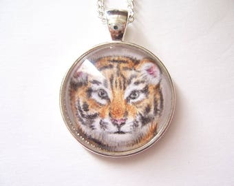 Tiger pendant necklace,  original animal drawing, Wearable art necklace,  miniature wildlife gift, silver big cat jewelry