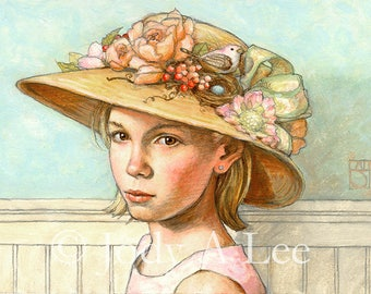 Girl with Extravagant Hat Original Oil Painting