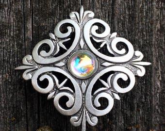Swarovski Crystal Renaissance Scroll Brooch | Scroll | Renaissance Jewelry | Ren Faire Gift | Swarovski Jewelry | by Treasure Cast Pewter
