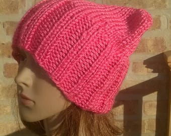 Pink Pussyhat, Knit Hat, Hand Knit Hat, Pussy Cat Hat, Womens Hat, Winter Hat, Handmade Hat, Knit Pussyhat, Womens March Hat