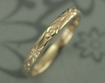 Yellow Gold Band~10K Gold Ring~10K Gold Band~Antique Ring~Vintage Wedding Band~Handmade Wedding Ring~Orange Blossom Ring~Romance Ring