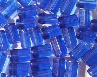 Vintage Pentagonal Translucent Blue Glass Barrel Beads