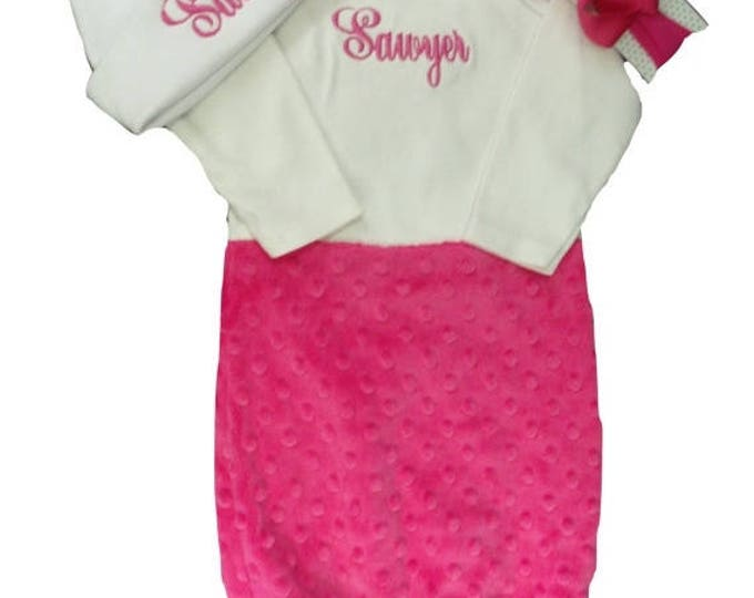 SALE Personalized Coming Home Baby Gown for Girl, Pink and Gray Personalized Baby Girl Gown, Customize to your colors