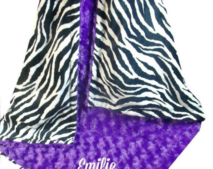 SALE Purple Rose Swirl and Zebra Print Minky Dot Baby Blanket, Purple Black Minky Blanket, available in three sizes, Can Be Personalized
