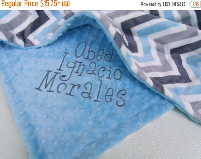 SALE Gray and Blue Minky Chevron Baby Blanket with Baby Blue Dot Minky Back Can Be Personalized