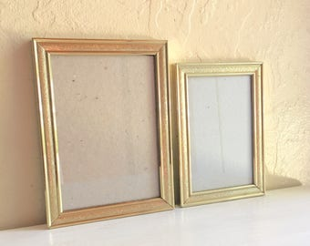 Matching Pair of Brass Metal Picture Frames 5x7 and 4x6 Inches