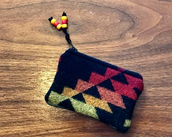Coin Purse / Gift Card Holder / Zippered Pouch XL Wool Southwestern Tribal Handcrafted Using Fabric from Pendleton Woolen Mill