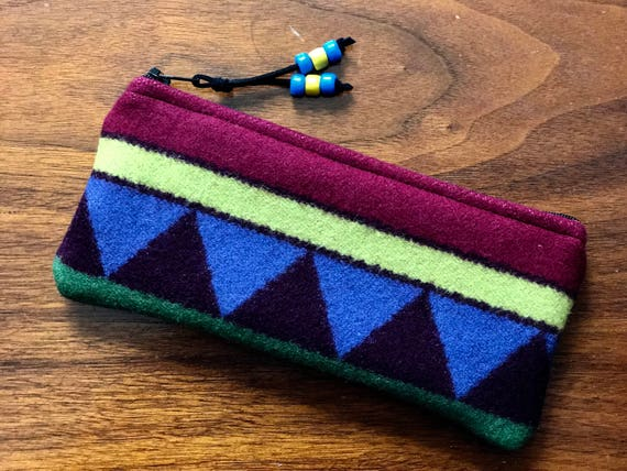 Wool Sunglasses Case / Glasses  Case / Tampon Case / Zippered Pouch Rainbow Serape