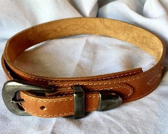 Vintage Genuine Leather Belt with Stitched Pattern