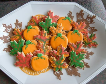 Mini Autumn Cookies - Fall Decorated Cookies -Pumpkin and Leave Cookies  - 2 dozen