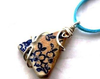 Irish sea pottery pendant. Blue flower, long, adjustable necklace  Summer Blossoms