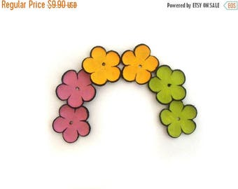 50% OFF SALE Leather flowers jewelry supplies cabochon flowers Jewelry making supplies Colorful Set of 6 pcs