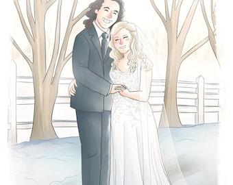 Custom Cartoon Portrait Couple (Cute soft style + bg) -  Personalized anniversary gift, Custom portrait illustration, Wedding portrait gift