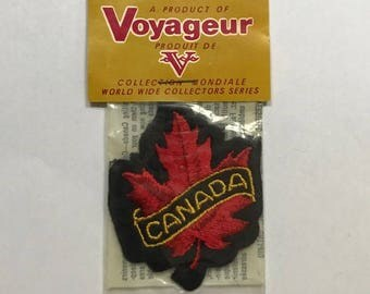 Canada Maple Leaf Iron On Patch FREE SHIPPING Vintage Voyageur Collectible