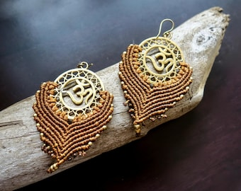 Om Macrame Brass Earrings | Light Brown, Sacred Geometry | Bohemian Chic