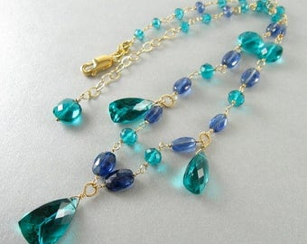 25 OFF Teal Green Quartz and Kyanite Wire Wrapped Gold Filled Necklace
