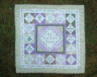 Green and Purple Being Thankful Quilted Wallhanging