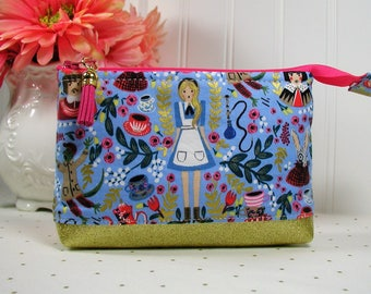 Zipper Pouch with Tassel, Planner Pouch, Accessory Pouch, Pen Pouch... Wonderland Cameos in Rose / Alice in Wonderland / Rifle Paper co