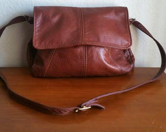 Vintage Brown Supple Leather Shoulder Bag by VICTORIA LEATHER CO