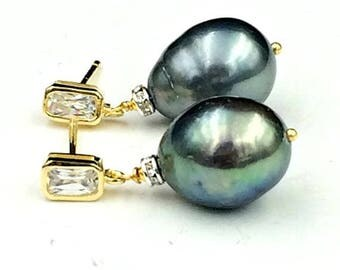 SALE Black Baroque Pearl Earrings Gold Vermeil CZ Post Earrings Black Pearl Drop Earrings Mixed Metal CZ Rondelles Pearl Wedding Jewelry