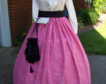 Child's or Adult Colonial,Civil War,Victorian,costume Long drawstring SKIRT pink and white Swirls cotton,Handmade