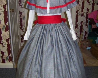 Civil War Victorian Long drawstring Skirt Country Blue with Red check print and Red Sash or with cape one size fit all