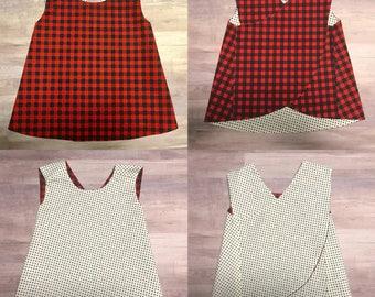Buffalo Plaid Reversible Crossover Pinafore Dress - Baby Girl - Black Red - Cream - Dots
