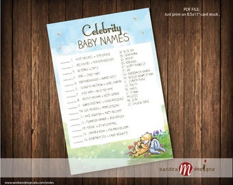 Classic Winnie the Pooh Baby Shower Celebrity Baby Game