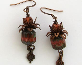 Orange, Brown, & Green Czech Cathedral Bead with Flower Embellishment Boho Style Dangle Earrings by Carol Wilson of Je t'adorn