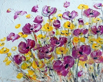 PURPLE YELLOW Flowers Painting Acrylic on Canvas Whimsical MIST Floral Art by Luiza Vizoli