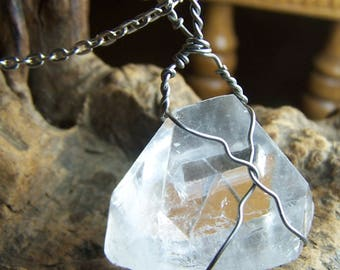 Apophyllite crystal pyramid necklace pendant - Stainless steel wire wrap - large natural clear white stone point triangle coyoterainbow SRt4