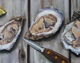 Shucked Oysters on the Half Shell Coastal Art Shellfish Seafood ORIGINAL Oil painting 20x10 by Kristine Kainer