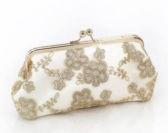 HALF PRICE SALE Metallic gold Embroidered Tulle Bridal Clutch in ivory + gold frame | Daisy ready to ship