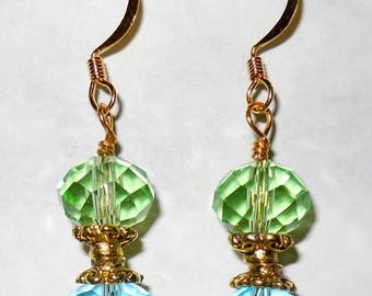 SALE, 50%, Green and Blue Crystals drop earrings