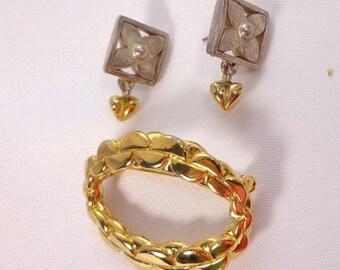SALE Anne Klein Brooch Earrings Gold Silver Pin Signed AK Pierced Vintage 889