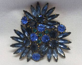 20%OFF Blue Rhinestone Brooch Pin with Prong Set Stones and Navettes #B788