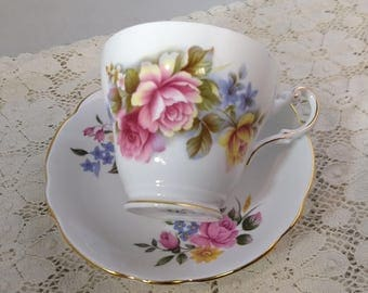 Sale 10% OFF Regency Roses Flowers Bone China Cup & Saucer,  English Coffee Teacup  #B1061