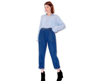 absolutely cutest pair of vintage high waisted jeans / dark wash elastic waist jeans mom jeans cropped jeans 90s jeans 90s clothing