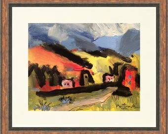 Taos back road Southwest painting for home decor and interior design decoration with blue black and yellow