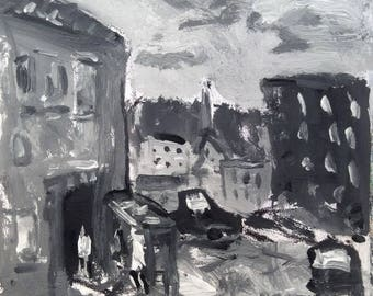 Black and White Urban Landscape painting, monochromatic acrylic expressionist painting