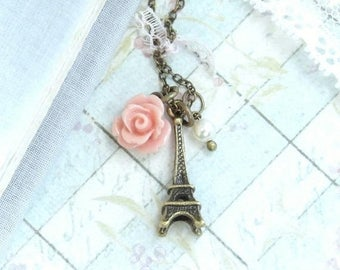 Eiffel Tower Necklace Shabby Chic Necklace Paris Necklace Travel Necklace Eiffel Tower Gift French Necklace