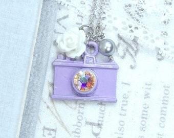 Photography Necklace Purple Camera Necklace Camera Pendant Necklace Photographer Gift
