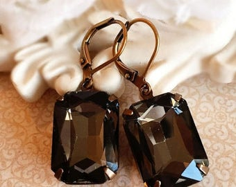 SALE 20% Off Art Deco Earrings - Black -  Victorian Jewelry - Crystal - WINDSOR Black Diamond