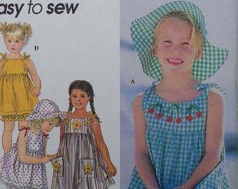 Easy to Sew Girls Sundress Pattern with Bloomers Hat and Top Simplicity 9000 Girls Size 5 6 6x Uncut