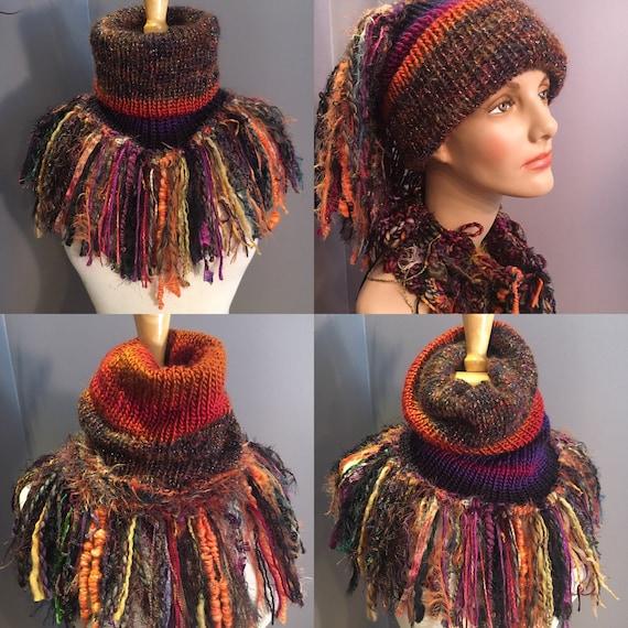 Handmade Knit Fur Reversible Cowl with fringe, Knit neckwarmer, turtleneck scarf, black rainbow scarves, luxury scarf, bohemian, artwear