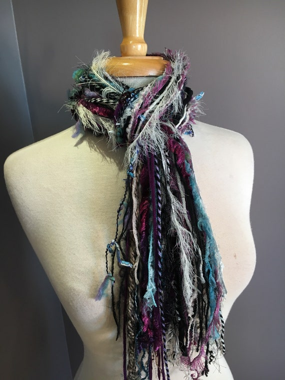 Medium Fringie in Memory, Fringe Scarf, Handmade hand-tied art yarn scarf in blue black purple ivory, bohemian, gifts, short scarf, ribbon