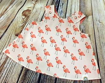 "Little Girl Dress ""Dixie"" Crossover back Flamingo Pinafore 9-12 month // Baby Shower Gift // Handmade Dress // Gifts for Baby Girls"