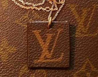 Upcycled Louis Vuitton necklace by Posh Rock Vintage - Louis Vuitton monogram and vachetta leather