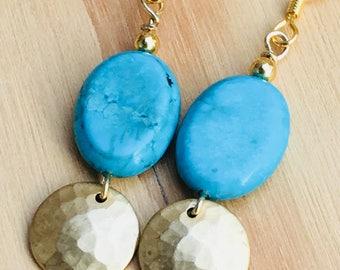 Handmade beaded dangle earrings, stone earrings, handmade jewelry