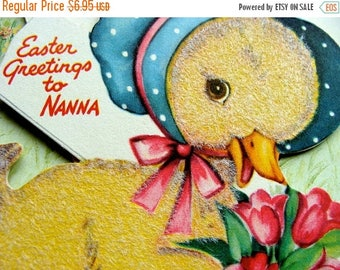 ONSALE Vintage Kitsch Antique Easter unused Card for Nana Check out the Back